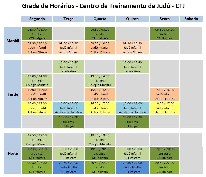 Horário de Treinos de Judô e Jiu-Jitsu em Salvador